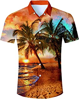 db27856f850c65 TUONROAD Men's 3D Printed Flower Hawaiian Shirt Casual Tropical Beach  Holiday Aloha Short Sleeve Button Down