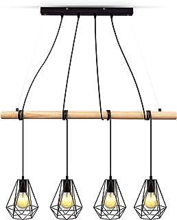 B.K.Licht suspension design pour 4 ampoules E27 max 60W, chandelier vintage bois métal, hauteur réglable, éclairage salon ...