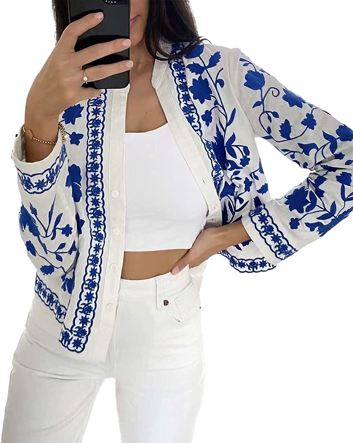 Women's Spring Summer Fall Long Sleeve Blue White Floral Print Button Down Casual V-Neck Coat Jacket Shirt Jacket Outwear