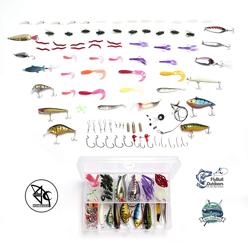 Fishing Lures Baits Tackle Including Crankbaits, Spinnerbaits, Plastic Worms, Jigs, Topwater Lures, Tackle Box and More Fishing Gear Lures Kit Set, 101Pcs Fishing Lure