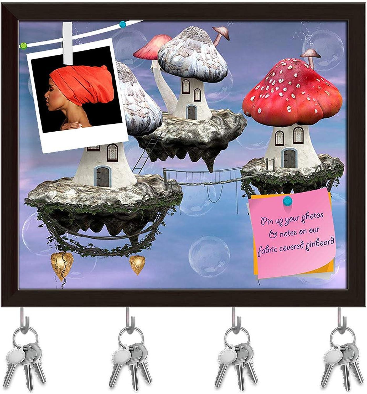 Artzfolio Mushrooms Magic Town Key Holder Hooks   Notice Pin Board   Dark Brown Frame 7.1 X 6Inch
