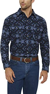 Men's Long Sleeve Button Up Printed Aztec Flannel Shirt