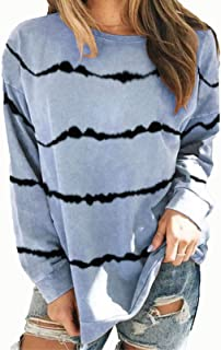 Women's Casual Stripes Long Sleeve Round Neck Loose Tunic T Shirt Blouse Tops Autumn Clothes Polos (Color : Sky-Blue, Size...