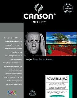ورق ألوان مائية أكواريل راغ فاين آرت من كانسون، 25 × 28 بوصة، أبيض، 25 ورقة