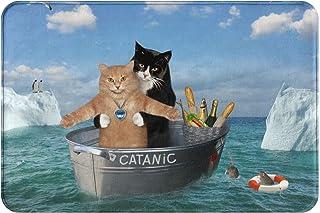 """Xinstas Funny Cat Drifting On The Steel Boat Indoor Door Mat, 15.7"""" X 23.5"""" Non-Slip Entryway Door Rug, Machine Washable O..."""