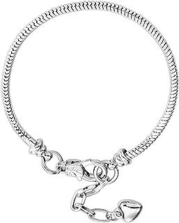 RUBYCA 10pcs Lobster European Style Snake Chain Bracelets fit Charm Beads 16-23cm Choose Size Color 18 CM Silver 43216-83343