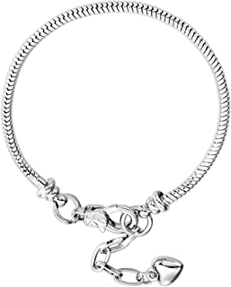 RUBYCA 5pcs White Silver Plated Heart Lobster European Snake Chain Bracelets fit Charm Beads 7.5