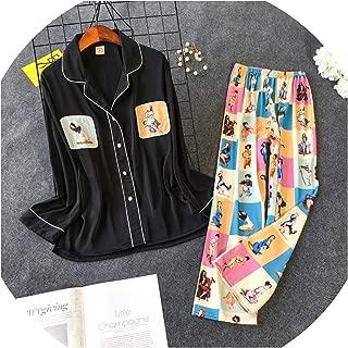 SVOSLYH New Printing Pajama Set Woman Korean Sweet Lovely Rayon Long Sleeve Trousers Twinset Pijama