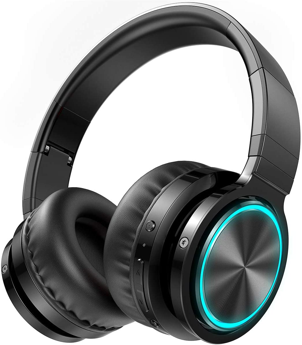 Picun B12 Wireless Bluetooth Headphones,HD Stereo Sound Over Ear Headphones with Built-in Microphones, Deep Bass 20 Hours Playtime, Fast Charge Bluetooth 5.0 Headset for Adults, School, Travel, Black