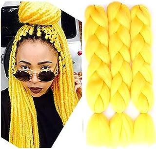 SOVAEER Yellow Jumbo Braiding Hair Extensions Jumbo Braids for Twist Box Braids Crochet Hair High Temperature Synthetic Fi...