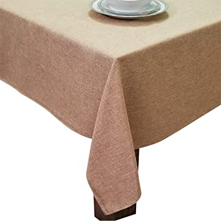 HomChic, Linen Look,Washable, Spill Proof, Heavy Weight, Treated Polyester Tablecloth, 60 x 104 inch Rectangle Brown