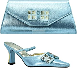 Italian Ladies Shoes and Bag to Match Set Decorated with Rhinestone African Shoe and Bag Set Nigerian Women Wedding Shoe Bag Set