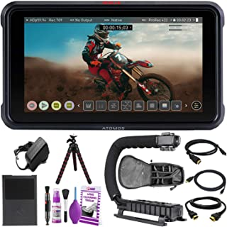 """Atomos Ninja V 5"""" Inch 4K HDMI Video Recording Monitor Advanced Accessory Bundle with Padded Backpack + Tripod + Cleaning ..."""
