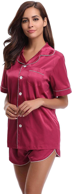 Aibrou Women's Pajamas Set Cotton Sleepwear Long and Short ButtonDown Pj Set