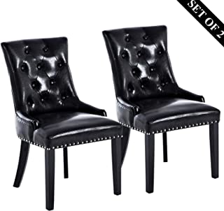 Leather Dining Chairs, Upholstered Dining Chairs, Modern Stylish Padded Dining Chairs with Silver Nailheads, Solid Wooden Legs and Button-Tufted Details, Set of 2 (Black).