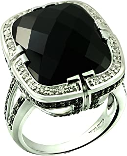 RB Gems Sterling Silver 925 Statement Ring Genuine Gemstone Cushion 20 Cts with Rhodium-Plated Finish