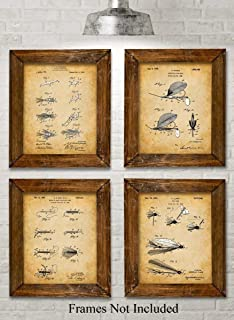 Original Fly Fishing Lures Patent Art Prints - Set of Four Photos (8x10) Unframed - Makes a Great Gift Under $20 for Fly Fishermen, Cabin or Lake House Decor