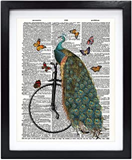 Susie Arts 8X10 Unframed Peafowl Peacock on a Penny Farthing Bicycle Friends Gift Living Room Funny Art Upcycled Vintage D...