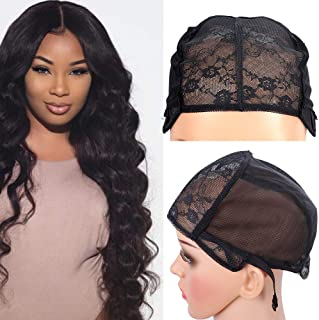 2PCS Glueless Double Lace Wig Caps Swiss Lace Adjustable Straps Breathable Large Black Weaving Cap for Making Wig