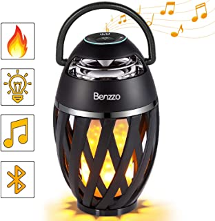 LED Bluetooth Speaker by Benzzo - Portable Desk Lamp Flickers Flame Light and HD Sound Wireless Speakers with Exclusive Bass and Easy Carrying Handle for Outdoor - for iPhone iPad Android