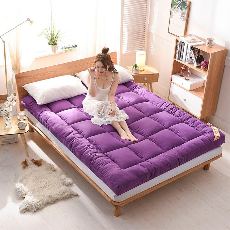 Cyt Thick Sleep Mattress Topper, Foldable Multifunction Portable Mattress Breathable Feather Velvet Tatami Floor Mat (color   Purple, Size   180x200x5cm)