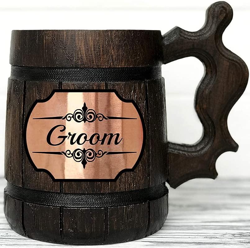 Groomsmen Wooden Beer Mug Groomsmen Gift Groomsman Gift Groomsmen Beer Mug Wedding Gift Best Man Gift Wooden Tankard Wedding Gift Wood Mug Beer Steins K2 Groom