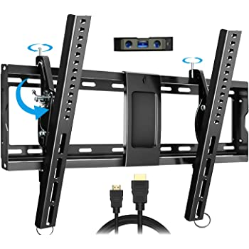 "EverstoneAdjustableTiltTVWallMountBracketforMost32-86InchLED,LCD,OLED,PlasmaFlatScreen,CurvedTVs,LowProfile,UpToVESA600x400and165lbs,IncludesHDMICableandLevel,Fits16"",18"",24"""