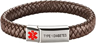 [Engraving] Leather Medical Alert Bracelet - Personalized Medical ID for Men Women Kids Custom Diabetic Alert Bracelet-Brown (19cm(7.48