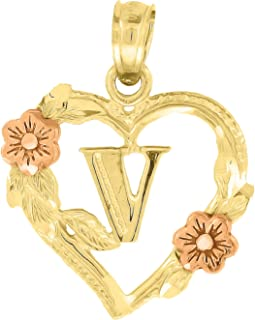 10k Gold Red Rose and Yellow Two tone Diamond-cut womens Letter V (Ht:19mm x W:15mm) Initial Charm Pendant