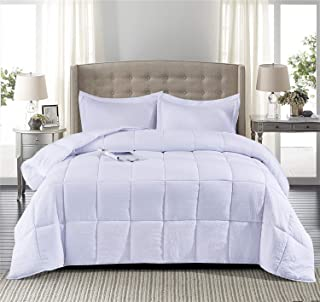 HIG Pre Washed Down Alternative Comforter Set Twin -Reversible Shabby Chic Quilt Desgin -Box Stitched with 4 Corner Tabs -Lightweight for All Season -Pure White Duvet Comforter with 2 Pillow Shams