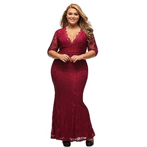 Burgundy Plus Size Prom Dress: Amazon.com