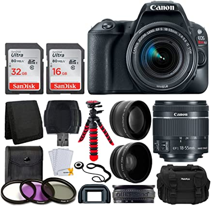 $559 Get Canon EOS Rebel SL2 Digital SLR Camera + EF-S 18-55mm f/4-5.6 is STM Lens + Wide Angle & Telephoto Lens + 48GB Memory Card + Flexible Tripod + DC59 Large Gadget Bag – Complete Accessory Bundle