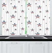 4th of July Kitchen Curtains, Scattered Stars with American Flag Motifs Independence Day Theme, Window Drapes 2 Panel Set for Kitchen Cafe Decor, 76