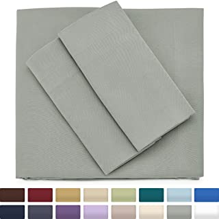 Cosy House Collection Premium Bamboo Sheets - Deep Pocket Bed Sheet Set - Ultra Soft & Cool Breathable Bedding - Hypoallergenic Blend from Natural Bamboo Fiber - 4 Piece - Cal King, Light Grey