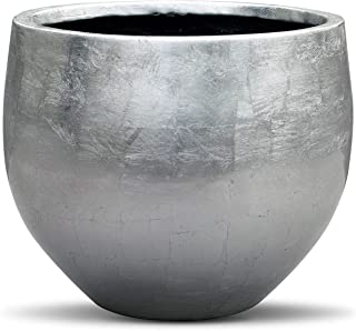 Vases And Props Silver Leaf Lacquered Round Planter - Round Bottom Fiberstone Flower Pot 10 Inch High x 12 Diameter