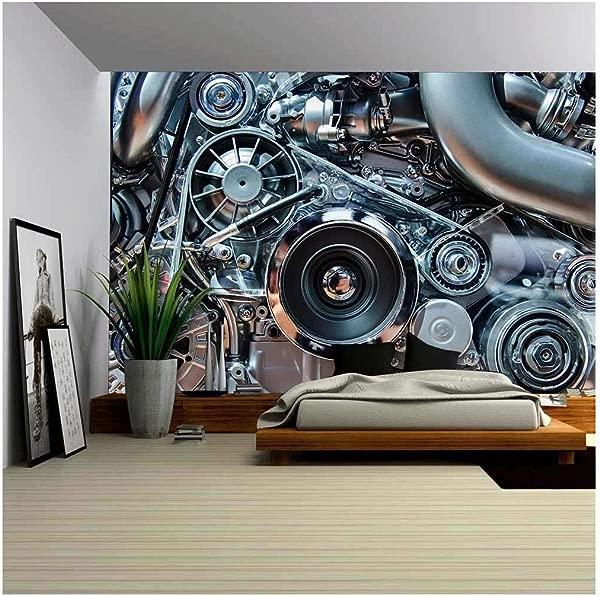 Wall26 汽车发动机概念现代汽车电机用金属铬塑料部件可拆卸墙壁壁画自粘大墙纸 100x144