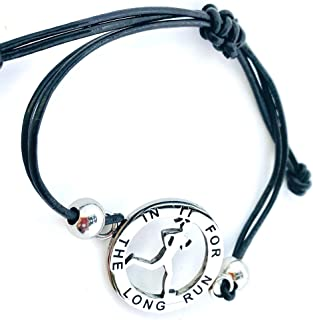 Women's Leather and Stainless Steel Adjustable Runner Girl Mantra Bracelet