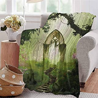 Summer Comforter Blanket Old Aged Fantasy Gate in Forest Ancient Medieval Gothic Greenery Digital Art Green Light Green Bedroom Dorm Sofa Baby Cot Beach W60 xL80