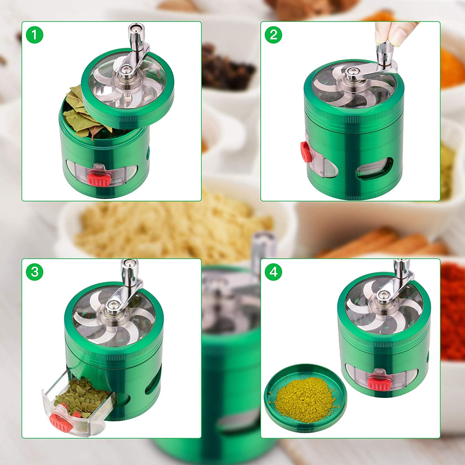 3 Separation Chambers Contain Drawer and Powder Separator Premium Hand Cranked Design Higher Volume Herb Grinder