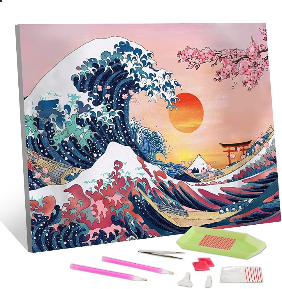 """5D Diamond Painting Kits for Adults - Great Wave with Sunset and Cherry Blossoms, Round Full Drill DIY Diamond Art Kits, Crafts for Adults Perfect Wall Decor for Home Office - 12"""" x 16"""""""