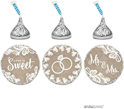 Andaz Press Burlap Lace Wedding Collection, Chocolate Drop Label Stickers Trio, 216-Pack, Fits Hershey's Kisses Party Favors