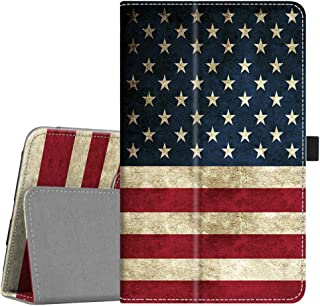 Fintie Folio Case for Samsung Galaxy Tab A 8.0 2018 Model SM-T387 Verizon/Sprint/T-Mobile/AT&T, Slim Fit Premium Vegan Leather Stand Cover, US Flag