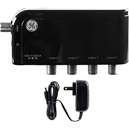 GE 4-Way TV Antenna Amplifier Splitter Clears Up Pixelated Low-Strength Channels Distributes Signal to Multiple TVs 50-1006MHz Low Noise Antenna Signal Booster HD Digital VHF UHF Indoor 34479