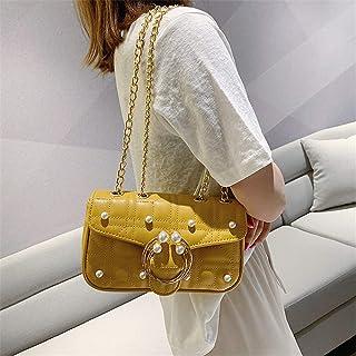 ZZZ One-shoulder Bag Fashion Pearl Chain Chic Wild Embroidery Diagonal Oblique Cross Korean Trend Female Bag fashion (Color : Yellow)