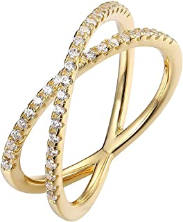 PAVOI 14K Gold Plated X Ring CZ Simulated Diamond Criss Cross Ring (9 Yellow)