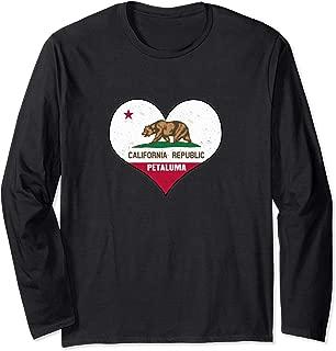 I Love Petaluma, California - CA Republic Flag Heart Long Sleeve T-Shirt