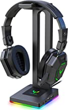 Blade Hawks RGB Gaming Headphone Stand with 3.5mm AUX and 2 USB Ports, Durable Headset Stand...