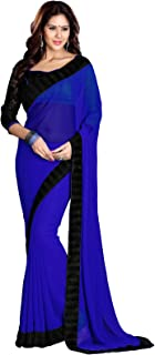 SOURBH Women's Georgette Saree with Blouse Piece, Free Size (Blue, 267)