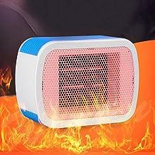 Deajing Calefactor Eléctrico Mini Calentador de Ventilador Calentador Rápido de Elementos de Calefacción de PTC Calentador de Escritorio Portátil de Bajo Consumo de Energía 500W (Azul)