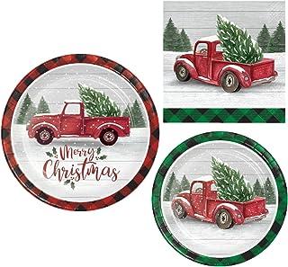 Suministros de fiesta de Navidad de granja   Paquete de vajilla de vacaciones incluye platos de papel y servilletas para 8...